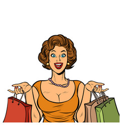 Woman shopping on sale isolate on white vector