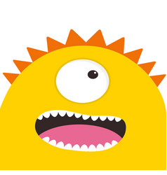 Yellow monster head with one eye teeth tongue vector