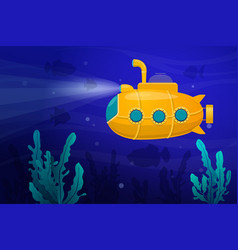 Yellow submarine underwater vector