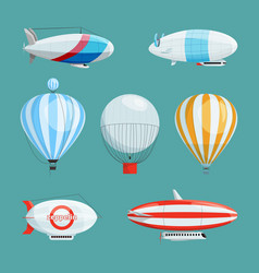 zeppelins big airships and balloons with cabin vector image