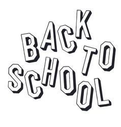 back to school shadowed letters typographic vector image