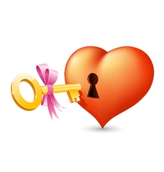 heart with keyhole and key vector image