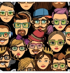 hipster faces seamless background print vector image vector image