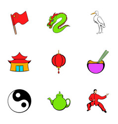 japanese travelicons set cartoon style vector image vector image
