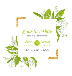 save the date card with blossom lily valley vector image vector image