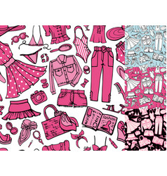 Summer fashion seamless patternwoman colored wear vector