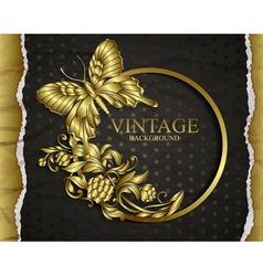 Vintage background with golden design elements vector image