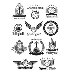 volleyball sport club awards icons set vector image vector image