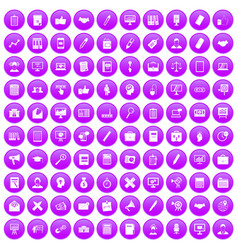 100 finance icons set purple vector image vector image