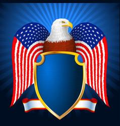 american eagle flag wing shield vector image vector image