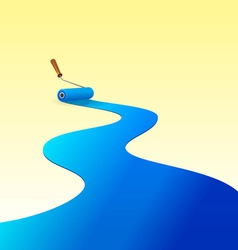 Blue Paint and Roller vector image