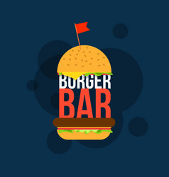 burger bar print design for cafe vector image vector image