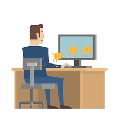 Businessman receive money from computer vector