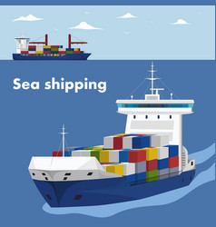 commercial sea shipping banner template vector image vector image