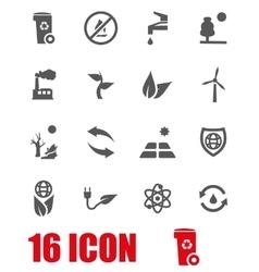 grey eco icon set vector image
