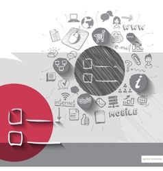 Paper and hand drawn notes emblem with icons vector image