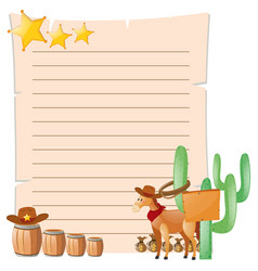 paper template with horse in western town vector image