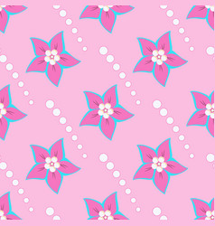 pink flowers and white shapes circles on a pink vector image vector image