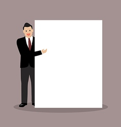 Businessman pointing to the billboard vector image