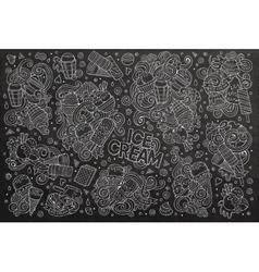Chalkboard cartoon set of ice-cream objects vector image