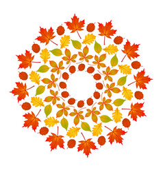 Colored round autumn mandala with leaves vector