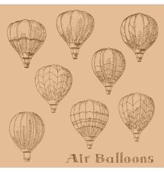 Flying hot air balloons retro engraving sketches vector image