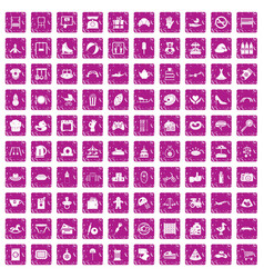 100 mother and child icons set grunge pink vector