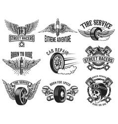 set of tire service car repair labels design vector image