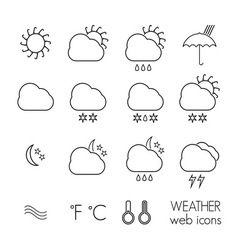weather icons thin1 resize vector image