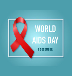 aids awareness symbol red ribbon1st december vector image