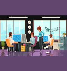 airport interior cartoon composition vector image