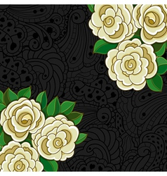Background with white roses and leaves vector image