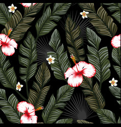banana leaves hibiscus seamless black backgorund vector image