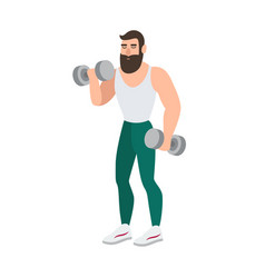 bearded man in sports clothing doing physical vector image