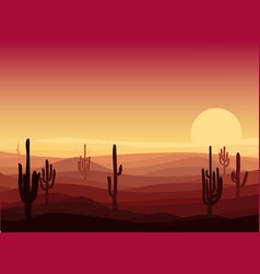 Beautiful desert landscape template vector