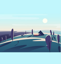 beautiful landscape with village house vector image