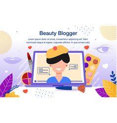 beauty blogger video channel flat banner vector image