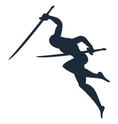 black silhouette of ninja vector image