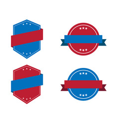 blue label icon with red ribbons and white stars vector image