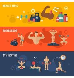Bodybuilding Banner Set vector