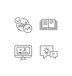 Book charts and video tutorial icons vector