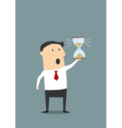 Businessman with sandglass worrying about deadline vector