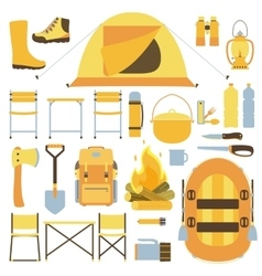 Camping equipment icon set vector
