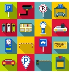 Car parking icons set flat style vector