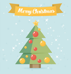 Christmas card christmas tree flat vector