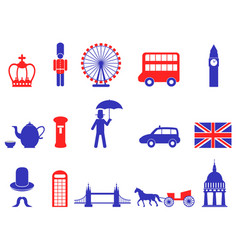 Color uk england british icons set vector