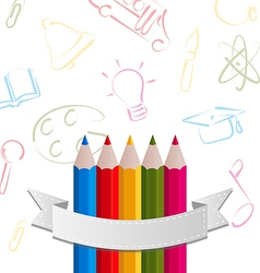 Colorful pencils with ribbon on pictogram vector image