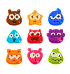 Colourful Jelly Characters with Emotions vector