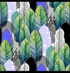Combined exotic leaves pattern vector