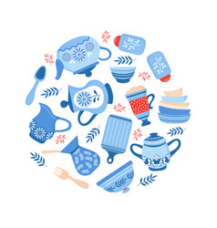 crockery ceramic cookware blue porcelain bowls vector image